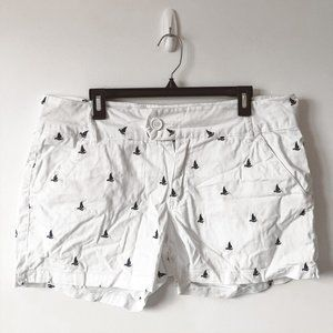 Blue Epic White Embroidered Sail Boat Shorts 16